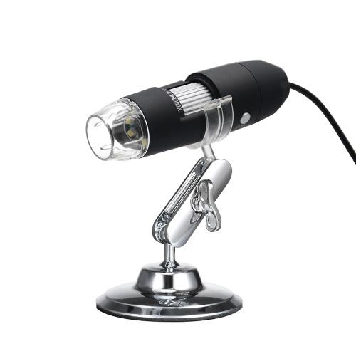Lente di ingrandimento con zoom digitale USB 3 in 1 con funzione OTG Lente di ingrandimento leggera a 8 LED Ingrandimento 1000X con supporto