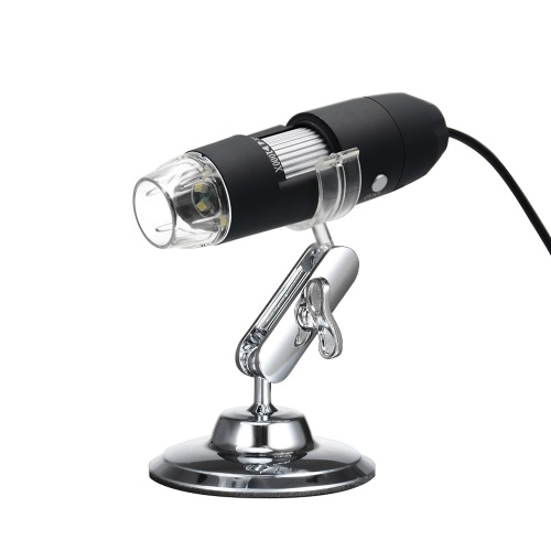 OTG機能付きUSBデジタルズーム顕微鏡拡大鏡8-LED光拡大鏡スタンド付き1000倍倍率