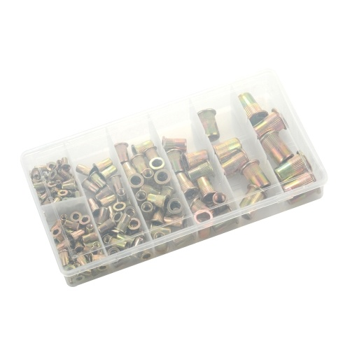 165pcs Mixed Zinc Plated Carbon Steel Rivet Nut Kit