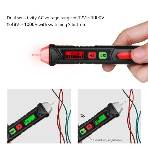 HABOTEST Portable Non-contact AC Voltage Tester Pen Shaped V~Alert Detector with Sound and Light Alarm
