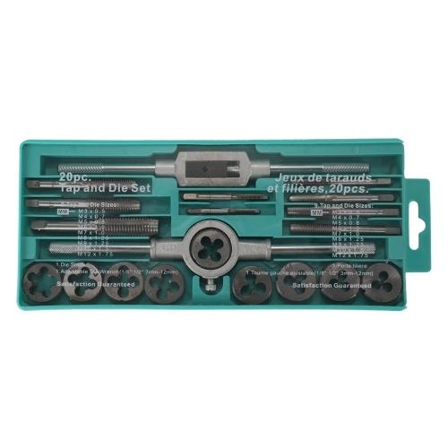 20pcs legierter Stahl Tap und sterben Set mit verstellbaren Schraubenschlüssel