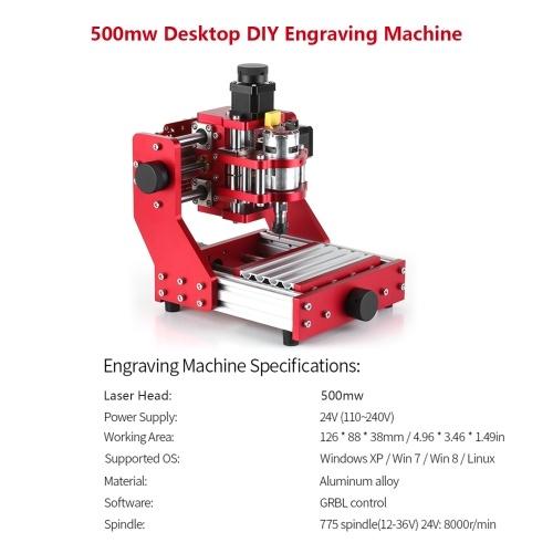 500mw Mini CNC Router 1310 CNC Metal Engraving Milling Machine Kit PCB Wood Milling Laser Machine Engraver with ER11 Collet