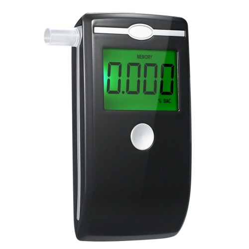 Portable Digital Breath Alcohol Tester Accuracy Breathalyzer LED Screen with 5pcs Transparent Mouthpieces for Home Use AT5500