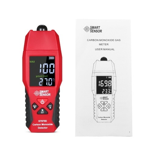TOMTOP / SMART SENSOR ST9700 Handheld Carbon Monoxide Meter with High Precision CO Gas Tester Monitor Detector Gauge LCD Color Display Sound and Light Alarm 0-1000ppm`