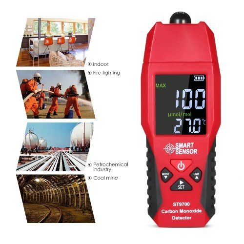 SMART SENSOR ST9700 Handheld Carbon Monoxide Meter with High Precision CO Gas Tester Monitor Detector Gauge LCD Color Display Sound and Light Alarm 0-1000ppm`
