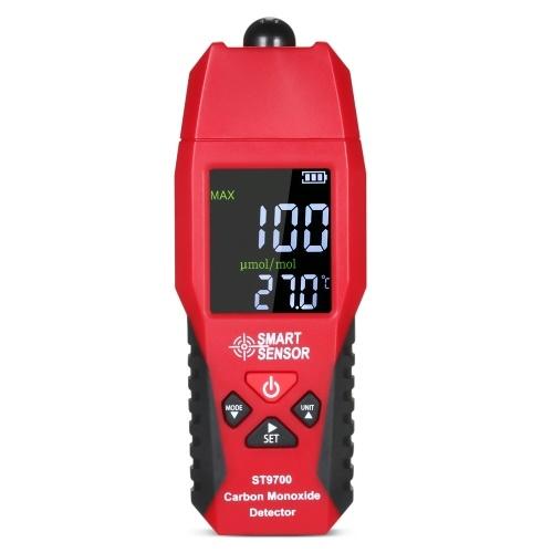 SMART SENSOR ST9700 Medidor de monóxido de carbono de mano con probador de gas de CO de alta precisión Indicador del detector Indicador de color LCD Alarma de sonido y luz 0-1000ppm