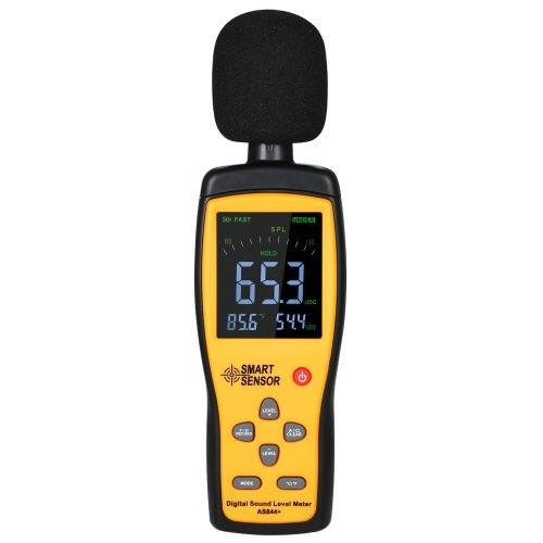 SMART SENSOR AS844+ Digital Sound Level Meter Digital Noisemeter LCD Sound Level Meter 30-130dB Noise Volume Measuring Instrument Decibel Monitoring Tester with Data Record & USB Connect Computer Function