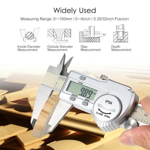 Digital Stainless Steel Caliper mm/inch LCD Display Vernier Caliper IP54  Waterproof