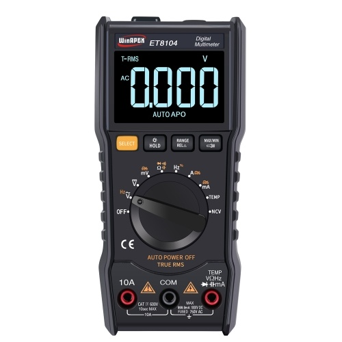 WinAPEX ET 8104 LCDカラースクリーンディスプレイポータブルオートメジャーマルチメーターAC / DC電圧電流容量抵抗計True RMS 9999カウント表示、懐中電灯機能付き