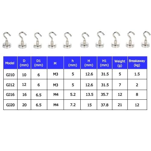10er Magnet Haken Magnet Hängehaken Heavy Duty Neodym Magnet Haken Set von 10er Magnet Einzelhaken