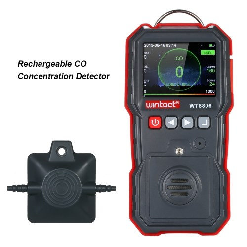 wintact Medidor de CO de alta precisión Detector de concentración de CO portátil profesional con pantalla LCD de registro de datos 120000 y alarma de luz de sonido y vibración 0-1000μmol / mol