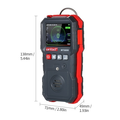 Wintact High Precision CO Meter Professional Portable CO Concentration Detector with 120000 Data Logging LCD Display and Sound-light and Vibration Alarm 0-1000μmol/mol фото