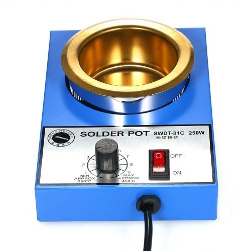 250 watt 220 v 80mm 800g mini bleifreier lötkolben titanium beschichtung edelstahl lötkolben kompakte temperatur einstellbar lötbad zum schweißen und löten