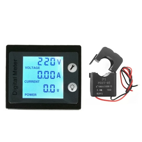 Medidor de panel de pantalla digital AC 80-260V 100A Voltímetro Amperímetro Medidor de energía