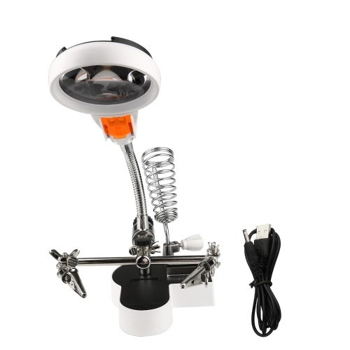 Magnifier with Warm and Cold Color Temperature LED Light 4.5X 11X Magnifier Soldering Helping Hand Auxiliary Clamp Alligator Clip Stand for Welding Solder RC Parts Tools