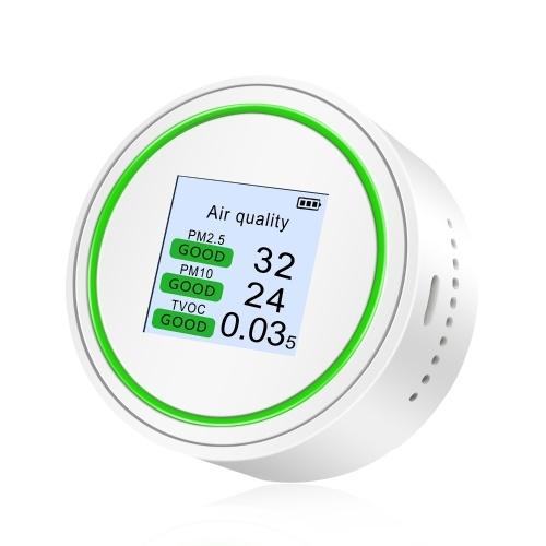 PM2.5 Tester Air Quality Detector Palm Size Air Quality Tester High Accuracy Air Quality Monitor for PM2.5 & TVOC & AQI & PM with Light & Sound Reminder