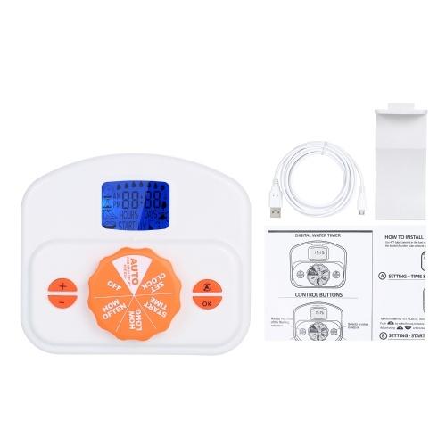 自動点滴灌漑エミッターシステムコントローラーバッテリー駆動/ USB駆動のプログラム可能な散水タイマーガーデニングポットプラント用花(バッテリーは含まれていません)