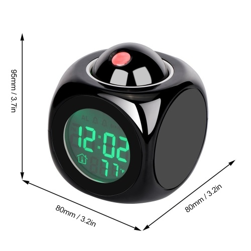 Multi-Function Projection Clock Led Colorful Backlight Electronic Alarm Clock Voice Report With Thermometer Snooze Function