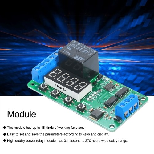 Double Channel 12V Nixie Tube DPDT Relay Board Double-pole Double-throw Multi-function Time Delay Relay Module Time Timer Switch