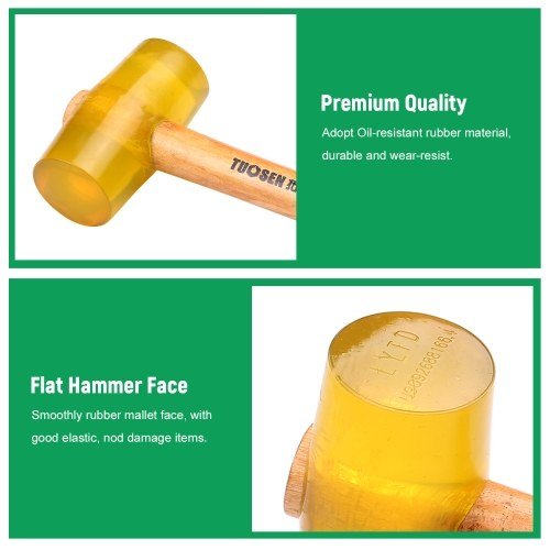 51000 Transparent Yellow Rubber Mallet Dual Face Tile Hammer with Wooden Handle