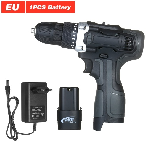 18V 2-Speed Cordless Drill Driver 1 Battery Fast Charger 15+1 Clutch Max 50Nm Torque Variable Speed 3/8-inch Compact Electric Drill with LED Light