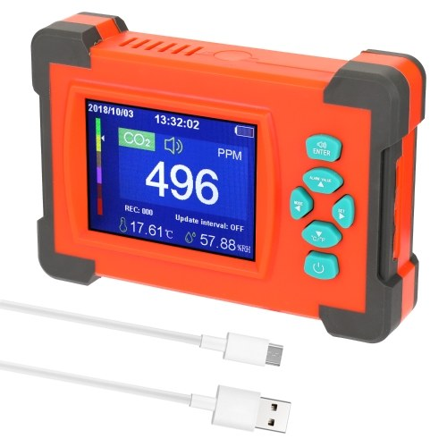 Portable Carbon Dioxide Detector Useful CO2 Meter Air Quality Monitor with Storage Case