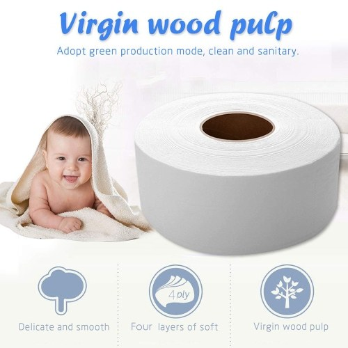 12 Rolls 4 Layers 700g Wood Pulp Bath Tissue Jumbo Paper Household Toilet Paper Roll with Core Breakpoint for Home Hotel Supermarket 90mm*130mm