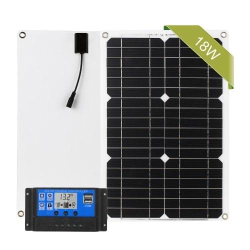 Комплект панелей солнечных батарей 18 Вт 12 В Off Grid монокристаллический модуль с контроллером заряда солнечной энергии Комплекты соединительных кабелей SAE