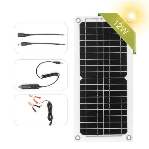 12W 12V Solarpanel Kit USB-Anschluss Off Grid Monokristallines Modul