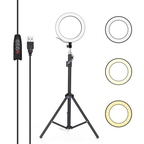 アルミ合金写真LEDセルフリングライト調光可能な写真カメラ電話リングランプ1.6Mスタンド付き三脚メイクアップビデオ用ライブスタジオ3つのギア調光モード10レベルの明るさ調整