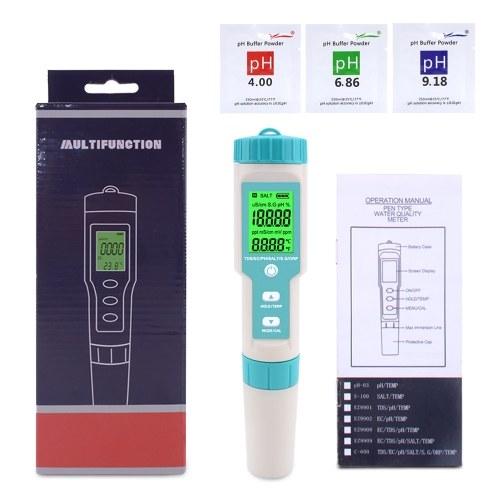 7-в-1 PH / TDS / EC / ORP / SG / соленость / температура Многопараметрический карманный тестер качества воды с электродом Сменный PH-метр C-600 для бассейнов Аквариумы с питьевой водой с подсветкой фото