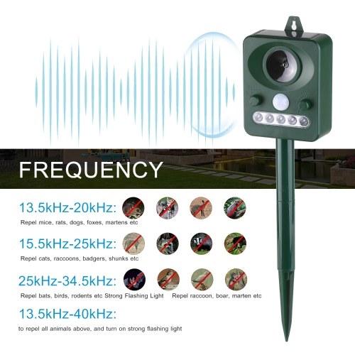 Solar Ultrasonic Pest Repeller Outdoor Animal Repeller with Ultrasonic Sound Motion Sensor and Flashing Light