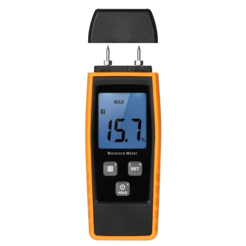 Handheld Mini Moisture Meter Digital LCD Lumber Damp Meter Wood Moisture Detector Humidity Tester for Timber Wood Drywall Plants Sheetrock Brick Mortar Concrete with 2 Pin Probe Range 0%~80%