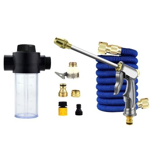 高圧噴霧器+ 7.5Mホースパイプ+金属コネクタ+フォームボトルセット洗車クリーニングガーデンプラント散水用品