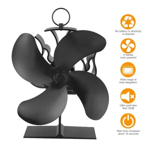アップグレード4ブレード熱駆動ストーブファンウッドログ暖炉急速起動方向矢印マークリングハンドルで暖かい空気を循環