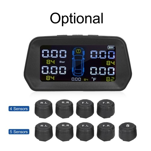 TPMS Tire Pressure Monitoring System Solar Powered with 5 External Sensors 6 Alarm Function Real Tim