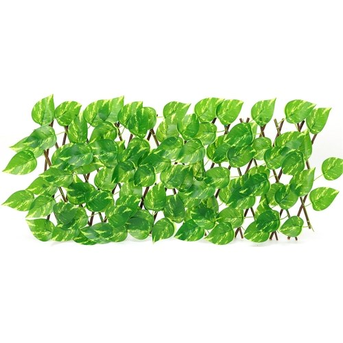 シミュレーションフェンス伸縮フェンス屋外ガーデンフェンス壁装飾ブロッキング植物(緑のディルの葉)