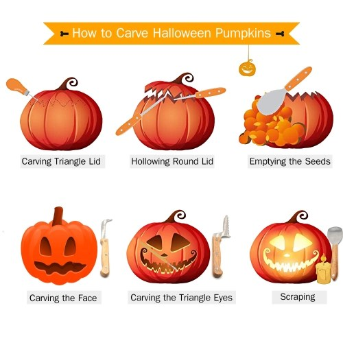 Pumpkin Carving Kit for Halloween Jack-O-Lanterns Cutting Sculpting Tools 5 Pieces Stainless Steel Carve Sculpt Tools Set