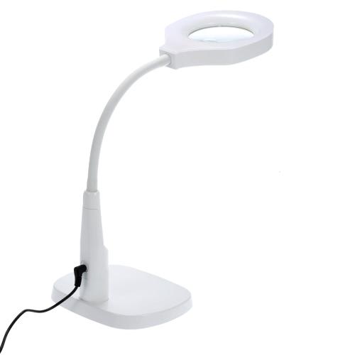 Buena calidad resistente versátil 2 en 1 iluminado lupa y lámpara de escritorio Flexible práctica lupa manos libres herramienta con abrazadera de C y titular de la Base