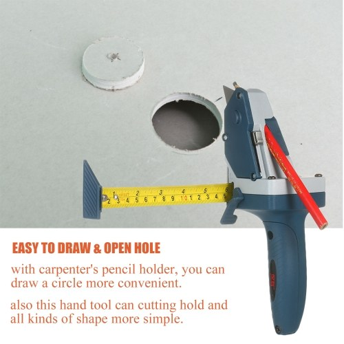 All-in-one Gypsum Board Cutting Tool with Measuring Tape and Utility Knife Mark and Cut Drywall Shingles Insulation Tile Carpet Foam