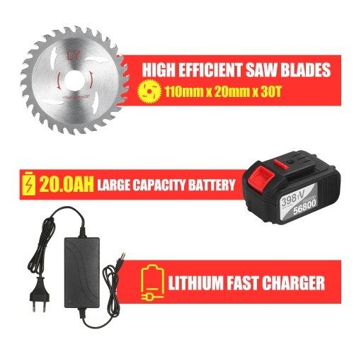 21V Cordless Circular Saw 6500RPM 4.0Ah Battery Fast Charger 45 Degree Adjustable Bevel Cutting with 110mm 30T Blades Circular Saw Woodworking Tools