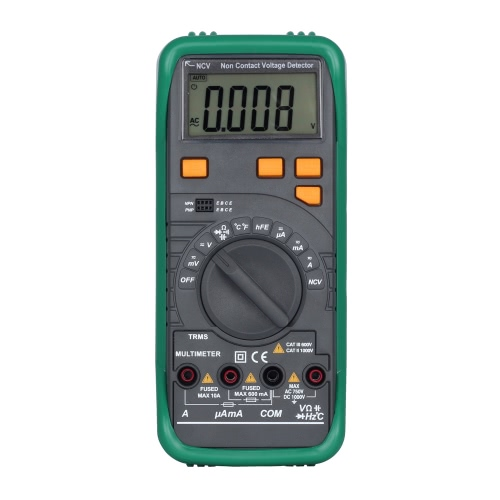 Digital LCD Multimeter DC AC Voltage Current Meter Resistance Diode Capaticance Tester Temperature Meaurement Auto/Manual Range NCV Function