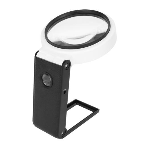 ハンドヘルド拡大鏡80mm多機能拡大鏡6X / 25X調整可能な倍率折りたたみ式丸型読書鏡6個のLEDライト2個のUVライト