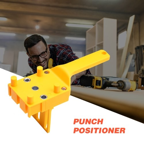 Quick Wood Doweling Jig ABS Plastic Handheld Pocket Hole Jig Fit 6/8/10mm Bit Hole Puncher For Carpentry Dowel Joints Drill Guide Metal Sleeve Yellow