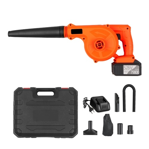 Cordless Leaf Blower 21V 6.0A Lithium 2 in 1 Sweeper and Vacuum Electric Air Blower Computer Cleaner Garden Power TooL Kit with Suction Hose