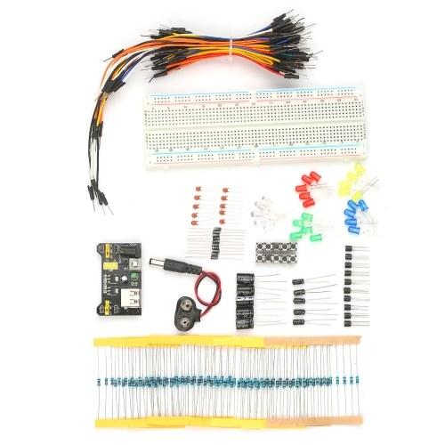 Комплект электронных компонентов Набор электронных компонентов 830 точек крепления MB102 Перемычки на макетной плате Провода для подключения модуля питания Светодиодный конденсатор Диодный транзистор Резистор Кнопка с зажимом для аккумулятора