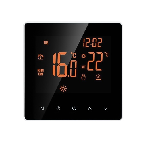 Smart Thermostat Wasser- / Gaskessel Digitaler Temperaturregler Touchscreen LCD-Display Woche Programmierbare Frostschutzfunktion Wasserheizungs-Thermostat für das Home School Office Hotel