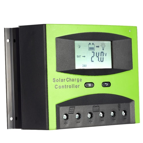 60A 12V/24V Solar Charge Controller PWM Charging Temperature Compensation Overload Protection LCD Display for Solar Off-grid System