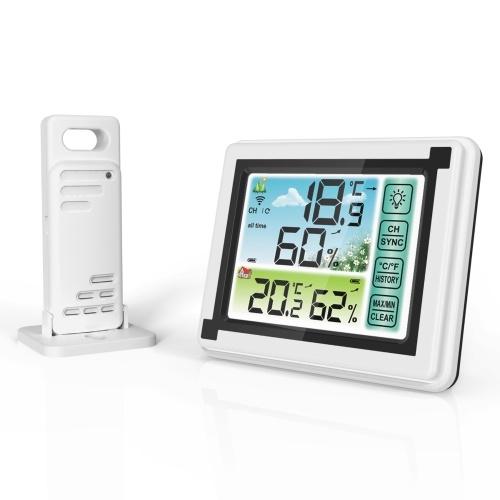 Внутренний открытый беспроводной термогигрометр Мониторинг температуры и влажности Погодные часы Цифровой гигрометр