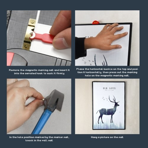 Onke L.j Picture Frame Horizontal Hanging Tool Extendable Multifunction Horizontal Carpenter Quick Hanging Tools Wall Precise Positioning Fixed Point Tool Household Utility Tool Set